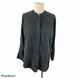 FIRST ANGELS Distressed Black Button Down Shirt